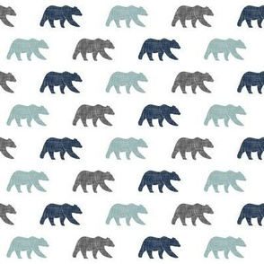 """(0.70 """" scale) multi bears - blue and grey - C19BS"""
