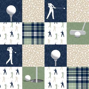 golf wholecloth - sage navy tan plaid - LAD19BS