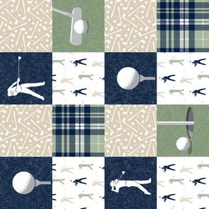 golf wholecloth - sage navy tan plaid (90) - LAD19BS