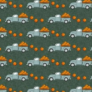"(3/4"" scale) fall vintage truck - falling pumpkins - dusty blue on green - LAD19BS"