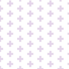 lilac swiss crosses on white | medium scale
