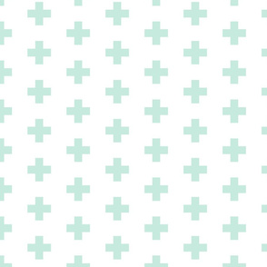 mint swiss crosses on white   medium scale