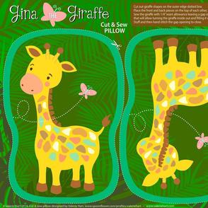 Gina The  Giraffe - Cut & Sew Safari Plushie Pillow