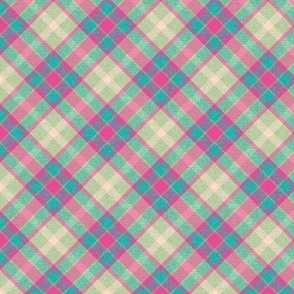 Bubblegum Pink Turquoise and Mint Apple Plaid