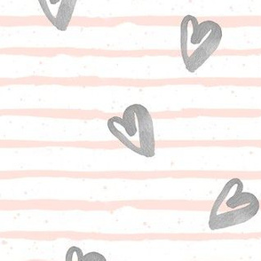 Light Pink Stripes with Grey Watercolor Hearts