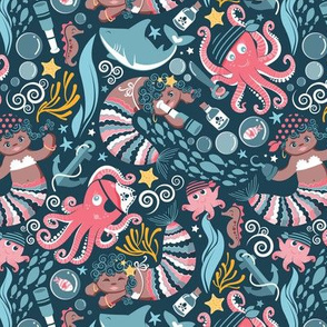 Pirates under sea // small scale // pink octopus