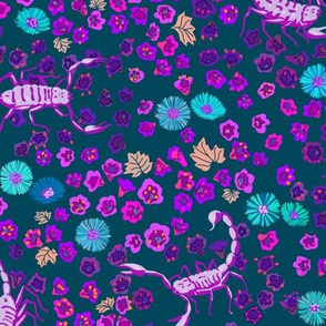 desert flowers and scorpions - teal