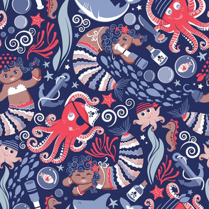 Pirates under sea // normal scale // red octopus