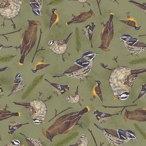 Neutral Birds - Dark Green