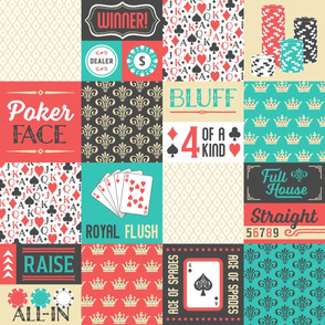 Poker Cheater Quilt in Retro Colors