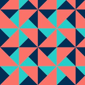 color block pinwheel light teal on dark blue