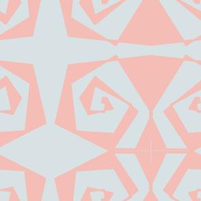 18 X 18 Blush on Aqua Geometrix