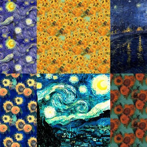 Van Gogh's Starry Night + Sunflowers | Cheater Quilt Blocks (large scale)