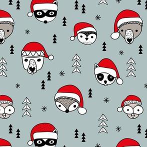 Cool scandinavian geometric woodland santa animals christmas holiday winter stone blue gray