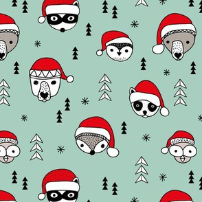 Cool scandinavian geometric woodland santa animals christmas holiday winter mint green red
