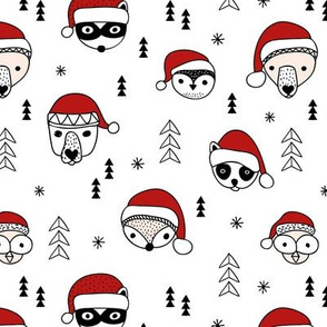 Cool scandinavian geometric woodland santa animals christmas holiday winter black and white red