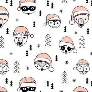Cool scandinavian geometric woodland santa animals christmas holiday winter girls coral peach