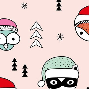 Cool scandinavian geometric woodland santa animals christmas holiday winter girls pink mint JUMBO