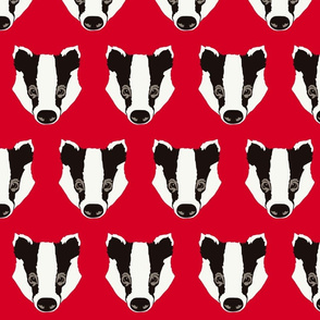Bart the badger on red - large scale