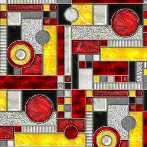 Stained Glass Window Color Blocking RED