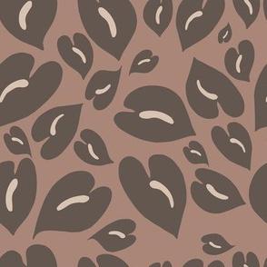 anthurium leopard print in grey brown