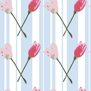 Tulips on pale blue stripe