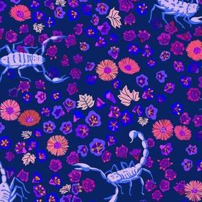 desert flowers and scorpions - navy