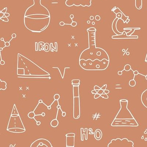 Cool back to school science physics and math class student illustration laboratorium neutral terra cotta brown fall
