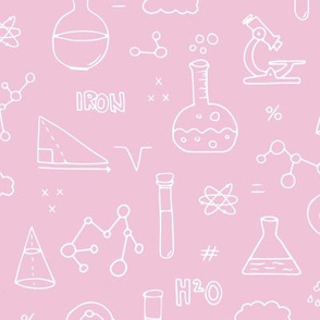 Cool back to school science physics and math class student illustration laboratorium pink white girls