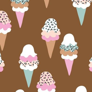 Animal print ice cream cones summer leopard panther trend design pink terra cotta mint