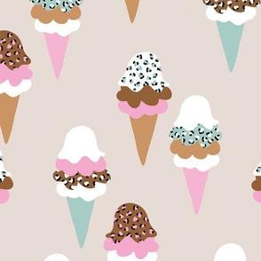 Animal print ice cream cones summer leopard panther trend design beige terra cotta pink mint