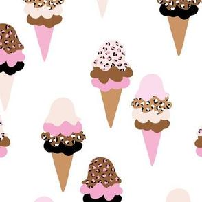 Animal print ice cream cones summer leopard panther trend design pink mint black