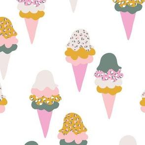 Animal print ice cream cones summer leopard panther trend design ochre eucalyptus pink
