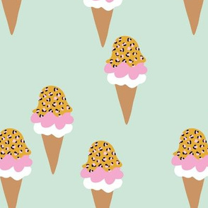 Animal print ice cream cones summer leopard panther trend mint ochre pink