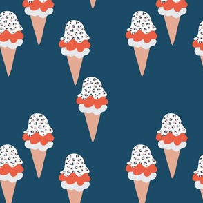 Animal print ice cream cones summer leopard panther trend navy blue marine red neutral M