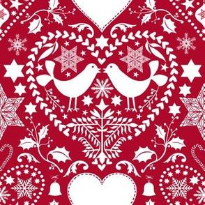 Scandinavian Folk Art With Birds Red White Pattern