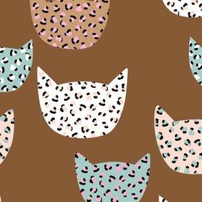 Wild cats leopard print kawaii design animal print panther trend terra cotta blue pink girls LARGE
