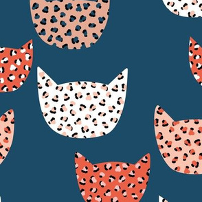 Wild cats leopard print kawaii design animal print panther trend red terra cotta navy
