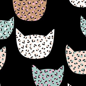 Wild cats leopard print kawaii design animal print panther trend black blue winter peach