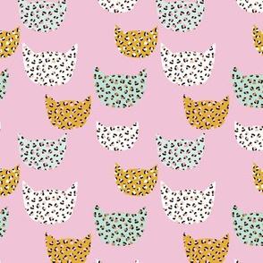 Wild cats leopard print kawaii design animal print panther trend pink mint ochre yellow SMALL