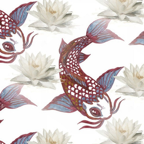 Koi and Water lilies Neutral