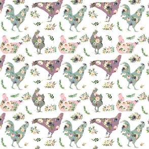chickens, country floral cuties  - medium