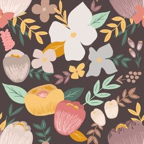 Golden Hour Fall Florals on Charcoal