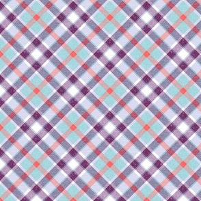 Aqua Purple and Coral Apple Plaid