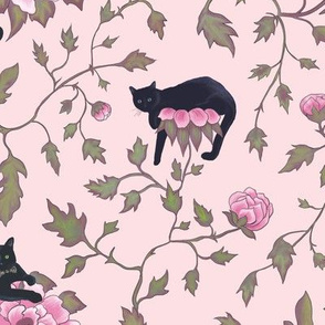 Lazy Cats and Pink Peonies Floral - Animal Pattern