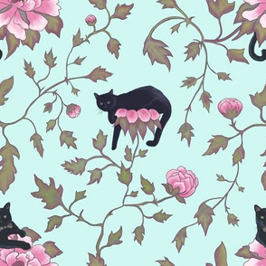 Cats and Peony Flowers Spring Aqua Blue Chinoiserie