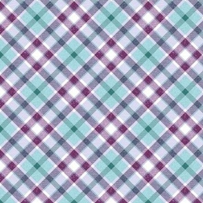 Aqua Purple and Teal Apple Plaid