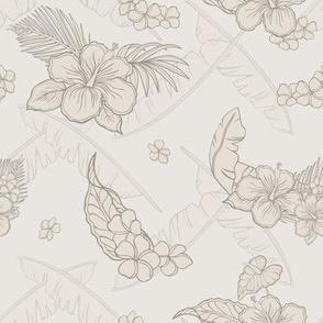 Aloha flowers in sepia