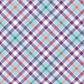 Aqua Purple Teal and Coral Apple Plaid