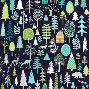 Cabin in the Woods (midnight navy) Trees Woodland Forest, MEDIUM scale